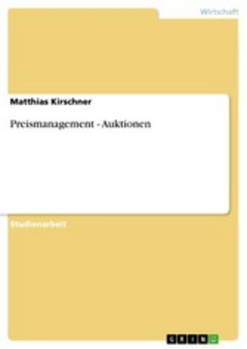 eBook Preismanagement - Auktionen Cover