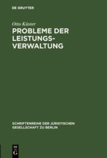 eBook Probleme der Leistungsverwaltung Cover