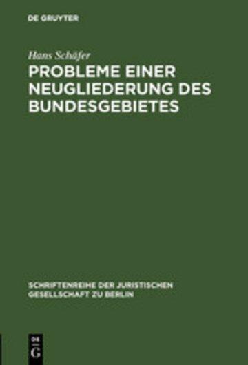 eBook Probleme einer Neugliederung des Bundesgebietes Cover