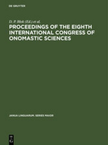 eBook Proceedings of the Eighth International Congress of Onomastic Sciences Cover