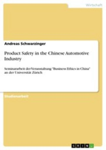eBook Product Safety in the Chinese Automotive Industry Cover