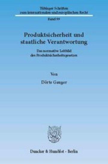 eBook Produktsicherheit und staatliche Verantwortung. Cover