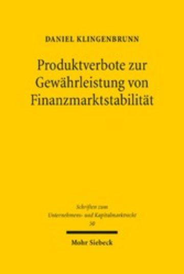 eBook Produktverbote zur Gewährleistung von Finanzmarktstabilität Cover