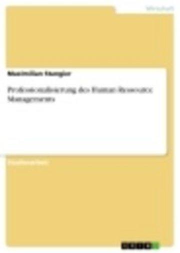 eBook Professionalisierung des Human Ressource Managements Cover