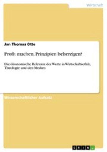 eBook Profit machen, Prinzipien beherzigen? Cover