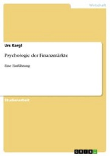 eBook Psychologie der Finanzmärkte Cover