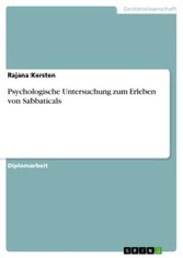 eBook Psychologische Untersuchung zum Erleben von Sabbaticals Cover
