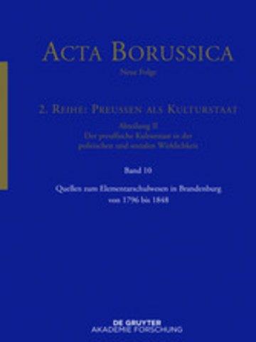 eBook Quellen zum Elementarschulwesen in Brandenburg von 1796 bis 1848 Cover