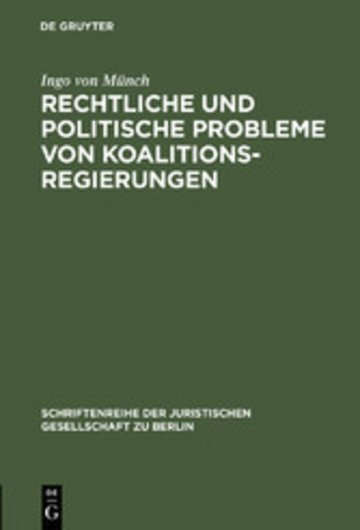 eBook Rechtliche und politische Probleme von Koalitionsregierungen Cover