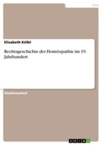 eBook Rechtsgeschichte der Homöopathie im 19. Jahrhundert Cover
