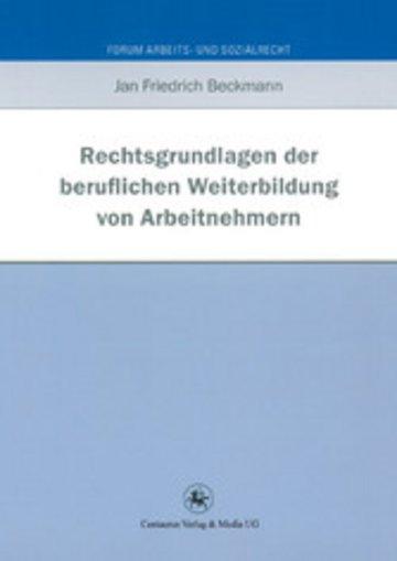 eBook Rechtsgrundlagen der beruflichen Weiterbildung von Arbeitnehmern Cover