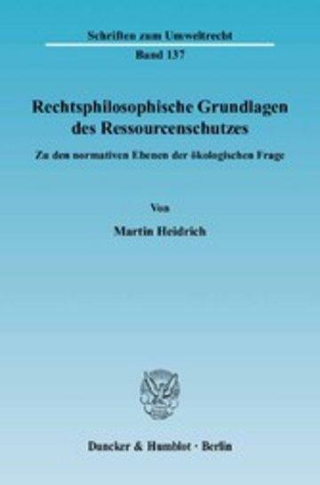 eBook Rechtsphilosophische Grundlagen des Ressourcenschutzes. Cover
