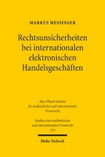 eBook Rechtsunsicherheiten bei internationalen elektronischen Handelsgeschäften Cover