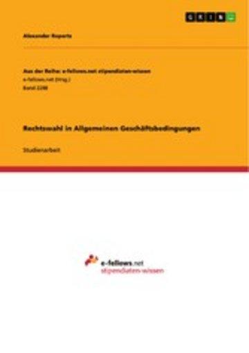 eBook Rechtswahl in Allgemeinen Geschäftsbedingungen Cover
