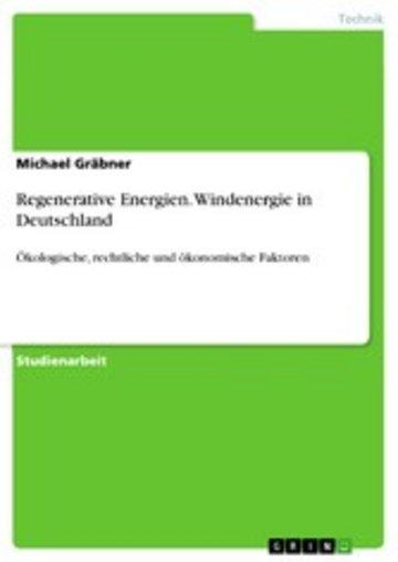 eBook Regenerative Energien. Windenergie in Deutschland Cover