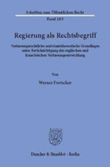 eBook Regierung als Rechtsbegriff. Cover