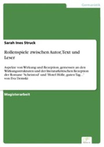 eBook Rollenspiele zwischen Autor, Text und Leser Cover