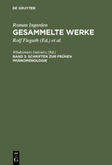 eBook Schriften zur frühen Phänomenologie Cover