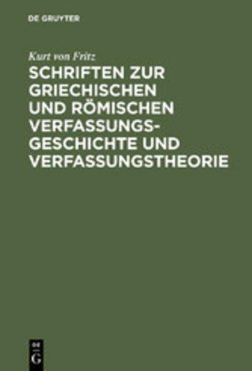 eBook Schriften zur griechischen und römischen Verfassungsgeschichte und Verfassungstheorie Cover