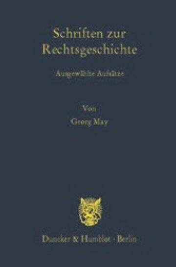 eBook Schriften zur Rechtsgeschichte. Cover