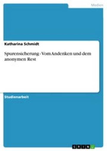 eBook Spurensicherung - Vom Andenken und dem anonymen Rest Cover
