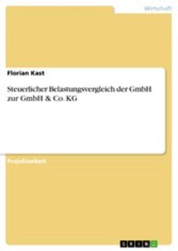 eBook Steuerlicher Belastungsvergleich der GmbH zur GmbH & Co. KG Cover