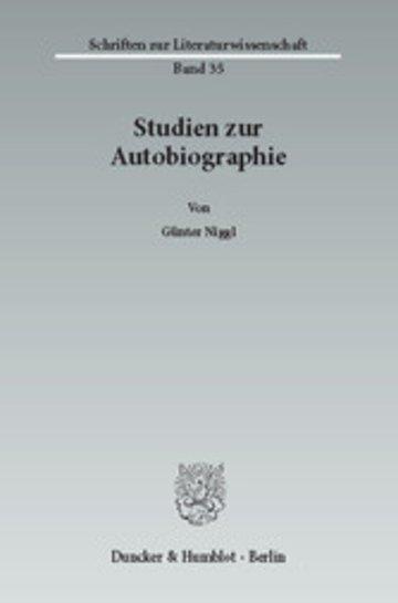 eBook Studien zur Autobiographie. Cover