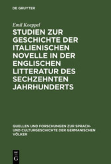eBook Studien zur Geschichte der italienischen Novelle in der englischen Litteratur des sechzehnten Jahrhunderts Cover