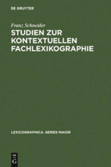 eBook Studien zur kontextuellen Fachlexikographie Cover