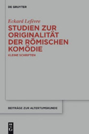 eBook Studien zur Originalität der römischen Komödie Cover
