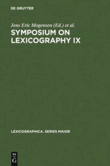 eBook Symposium on Lexicography IX Cover