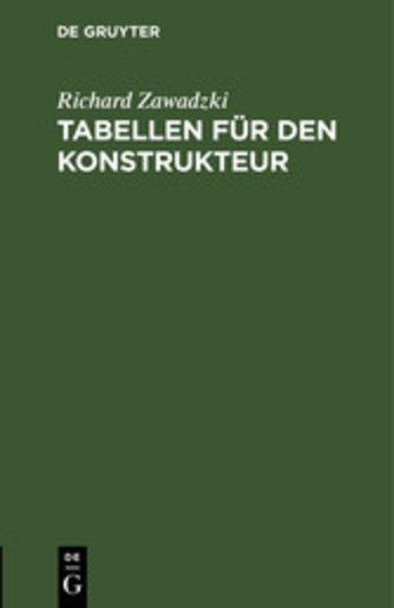 eBook Tabellen für den Konstrukteur Cover