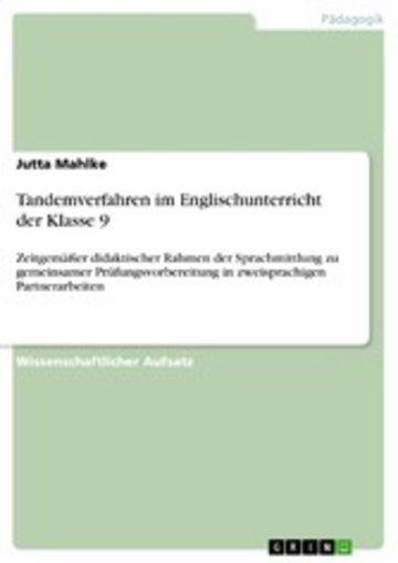 eBook Tandemverfahren im Englischunterricht der Klasse 9 Cover