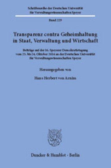 eBook Transparenz contra Geheimhaltung in Staat, Verwaltung und Wirtschaft. Cover
