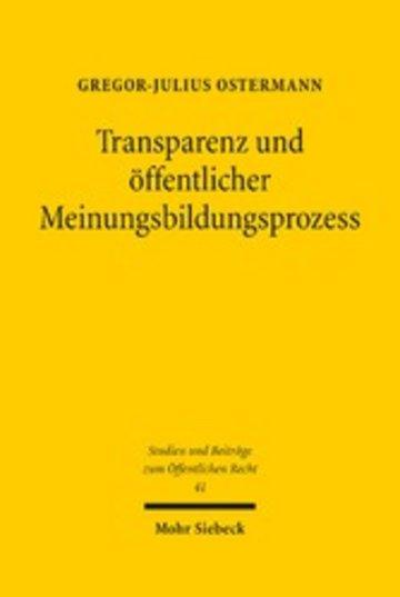 eBook Transparenz und öffentlicher Meinungsbildungsprozess Cover