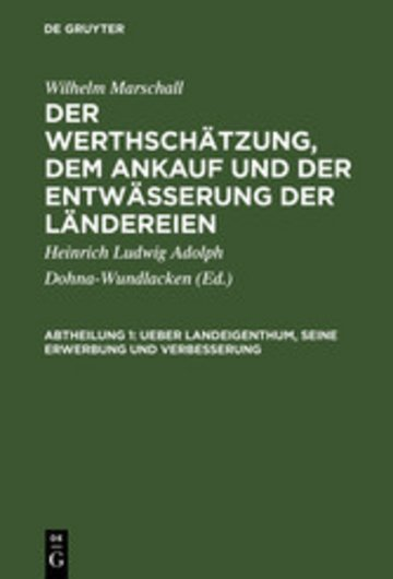 eBook Ueber Landeigenthum, seine Erwerbung und Verbesserung Cover