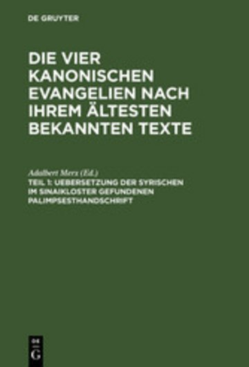 eBook Uebersetzung der syrischen im Sinaikloster gefundenen Palimpsesthandschrift Cover