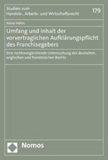 eBook Umfang und Inhalt der vorvertraglichen Aufklärungspflicht des Franchisegebers Cover