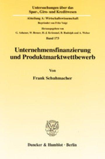 eBook Unternehmensfinanzierung und Produktmarktwettbewerb. Cover