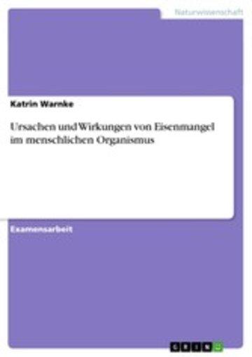 eBook Ursachen und Wirkungen von Eisenmangel im menschlichen Organismus Cover