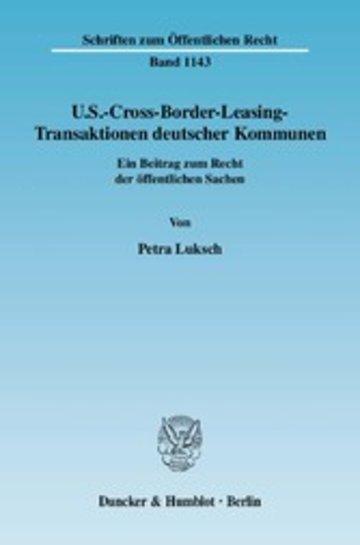 eBook U.S.-Cross-Border-Leasing-Transaktionen deutscher Kommunen. Cover