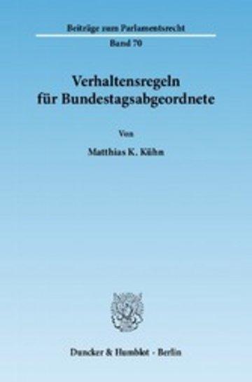 eBook Verhaltensregeln für Bundestagsabgeordnete. Cover