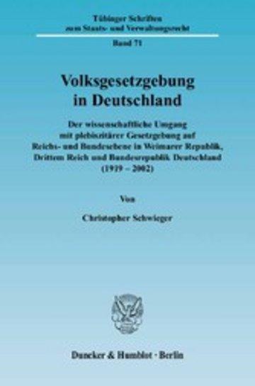 eBook Volksgesetzgebung in Deutschland. Cover