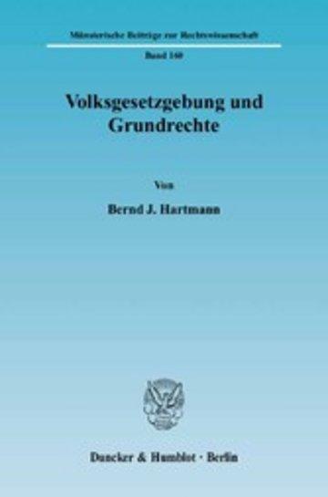 eBook Volksgesetzgebung und Grundrechte. Cover