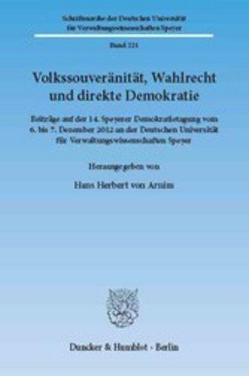 eBook Volkssouveränität, Wahlrecht und direkte Demokratie. Cover