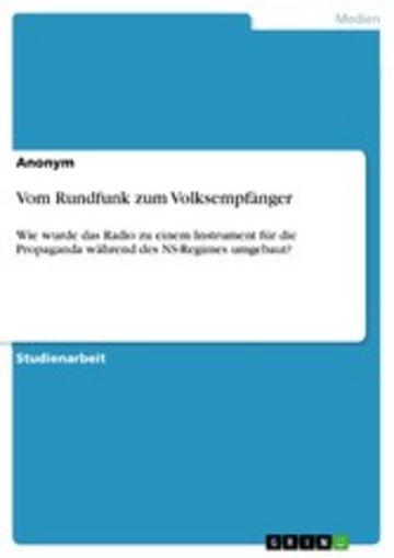 eBook Vom Rundfunk zum Volksempfänger Cover