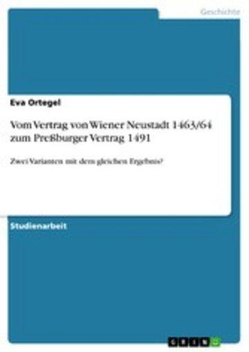 eBook Vom Vertrag von Wiener Neustadt 1463/64 zum Preßburger Vertrag 1491 Cover