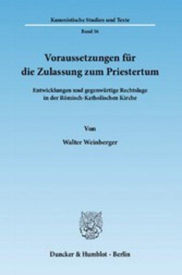 eBook Voraussetzungen für die Zulassung zum Priestertum. Cover