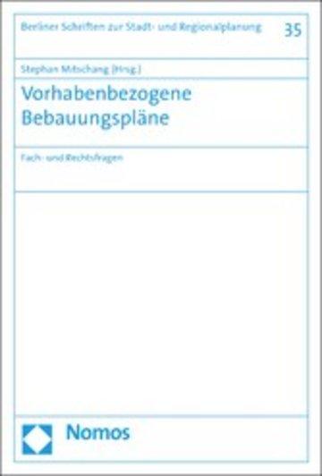 eBook Vorhabenbezogene Bebauungspläne Cover