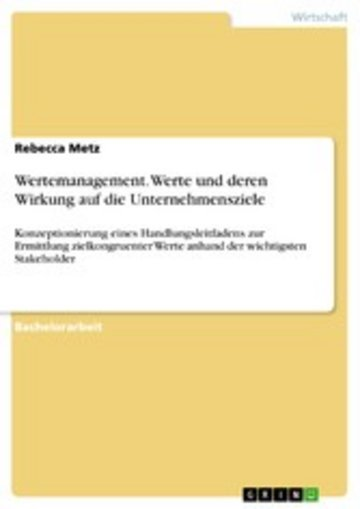 eBook Wertemanagement. Werte und deren Wirkung auf die Unternehmensziele Cover